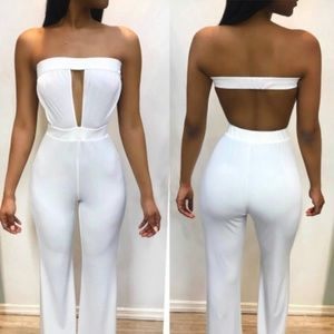 Sexy white strapless jumpsuit